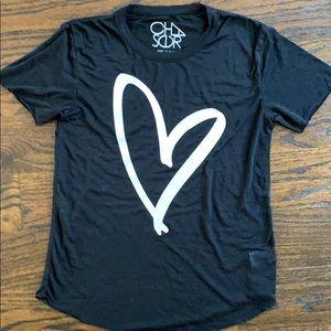 Chaser lightweight shrt slv blk heart T-shirt 12